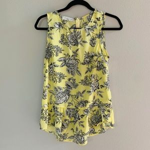 WAYF Yellow Floral Peplum Tank Top Blouse